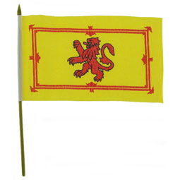 Rampant Lion Flag 18 inch by 12 inch with pole