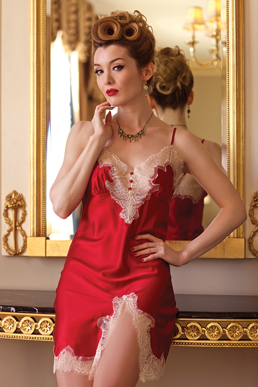 New 1950s Vintage Lingerie & Sleepwear, Pinup Styles Dominique Full Slip/ Champagne Lace $99.00 AT vintagedancer.com