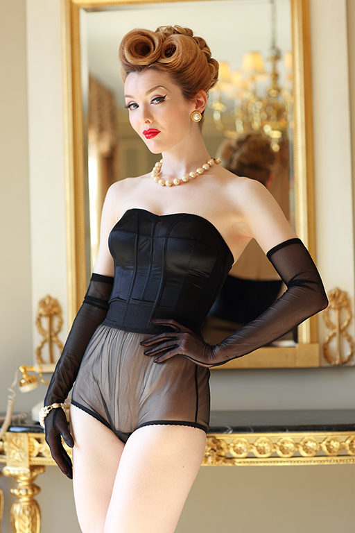 New 1950s Vintage Lingerie & Sleepwear, Pinup Styles Strapless Longline $69.00 AT vintagedancer.com