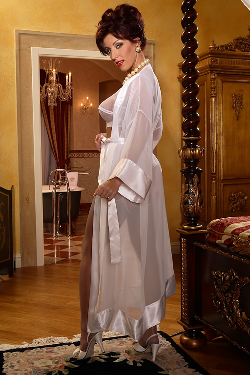 Vintage Inspired Nightgowns, Robes, Pajamas, Baby Dolls Elegant Chiffon Robe $62.30 AT vintagedancer.com
