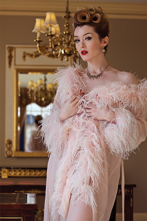 Vintage Inspired Lingerie Ostrich Trimmed Chiffon Robe $139.00 AT vintagedancer.com