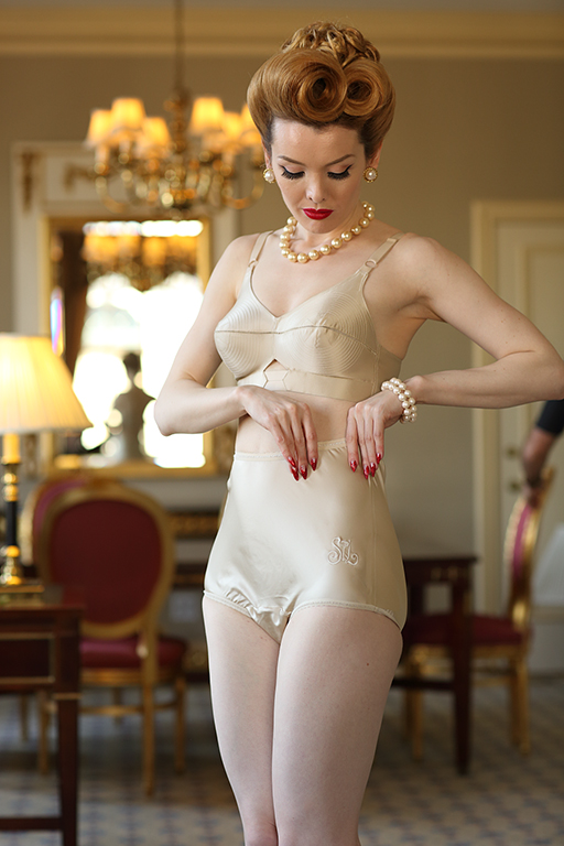 What Did Women Wear in the 1950s? Coquette Satin Bullet Bra $49.00 AT vintagedancer.com
