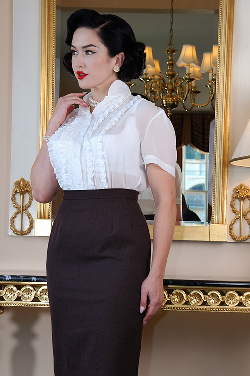 1950s Rockabilly & Pin Up Tops, Blouses, Shirts Ruffled BlouseGlamour Mail $59.00 AT vintagedancer.com