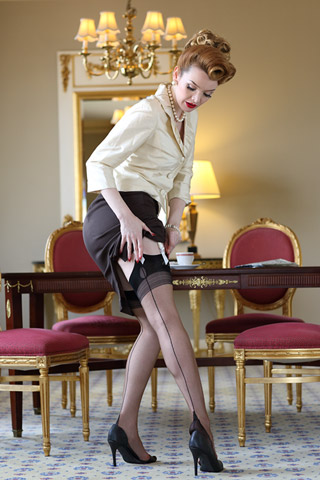 Seamed Stockings, Nylons, Tights Glamour French Heel $32.99 AT vintagedancer.com