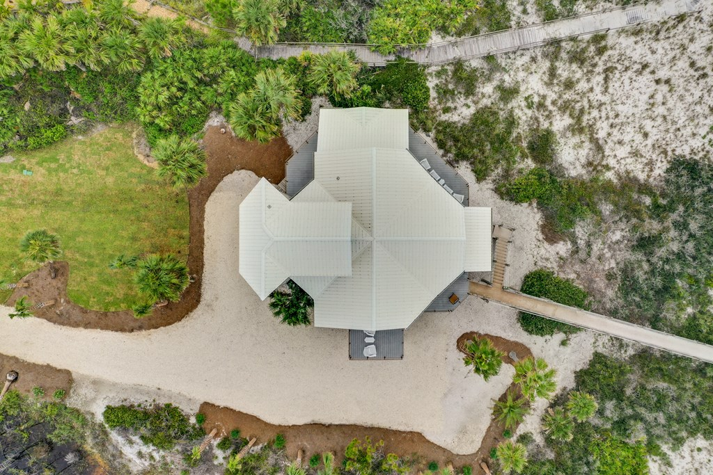 Aerial of house (beach is to the right)
