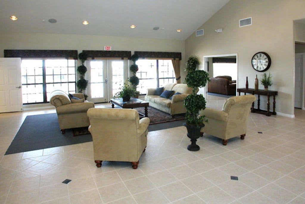 Clubhouse lounge - relax here if early check-in or late check-out unavailable.