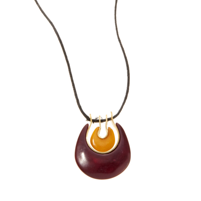 Tagua Double Crescent Necklace