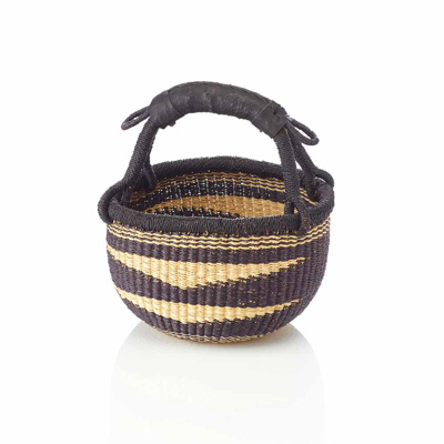 Small Round Navy Nautilus Basket