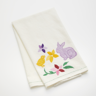 Embroidered Chick & Bunny Tea Towel