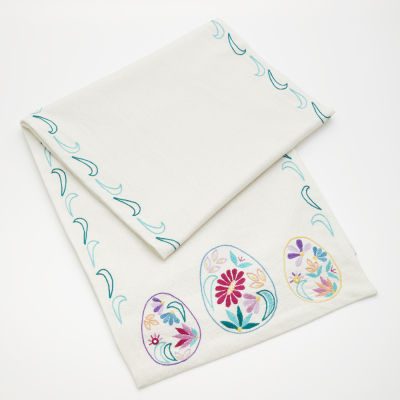 Embroidered Floral Egg Table Runner