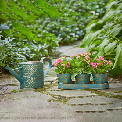 Watering Can & Planter Trio including FREE Birdie Wind Chime