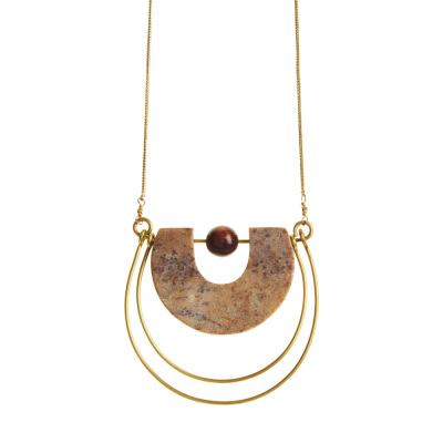 Gorara and Brass Horseshoe Necklace