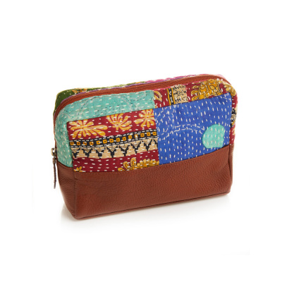 Kantha & Leather Medium Zip Pouch