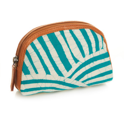 Teal Striped Batik Zip Pouch