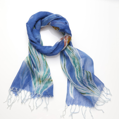 Lapis Painted Floral Scarf with Free Sari Wrapped Earrings