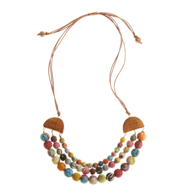 Split Sari Bead Necklace