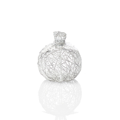 White Small Wire-Wrapped Pumpkin