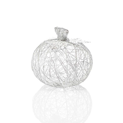 White Medium Wire-Wrapped Pumpkin