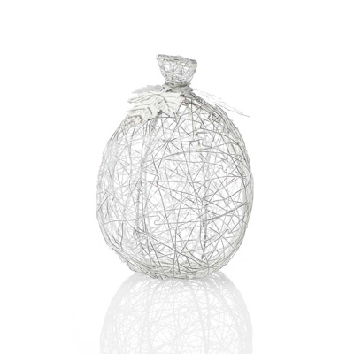 White Tall Wire-Wrapped Pumpkin