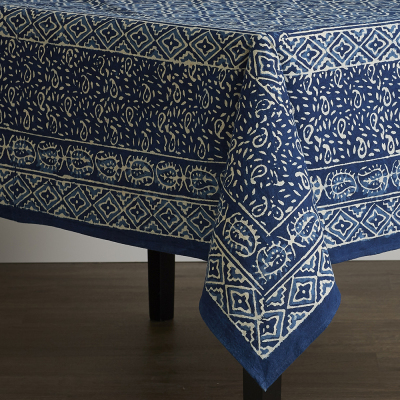Square Wave Dabu Tablecloth