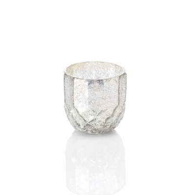 Silver Holiday Glass Candle Holder