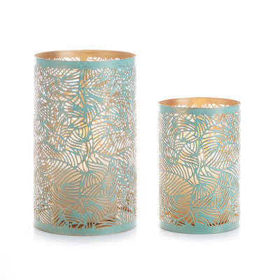 Green Botanical Lanterns - Set of 2