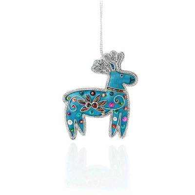 Blue Reindeer Zari Ornament
