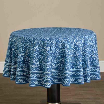 Round Floral Indigo Tablecloth