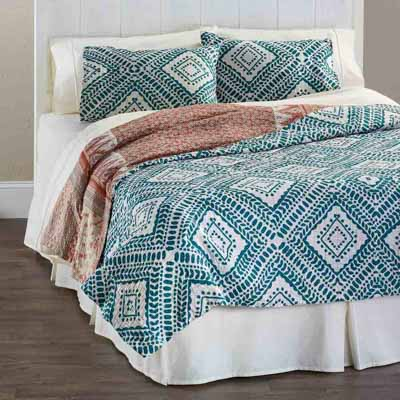 Teal Diamond Kantha Bedding