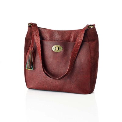 Burgundy Classic Leather Shoulder Bag