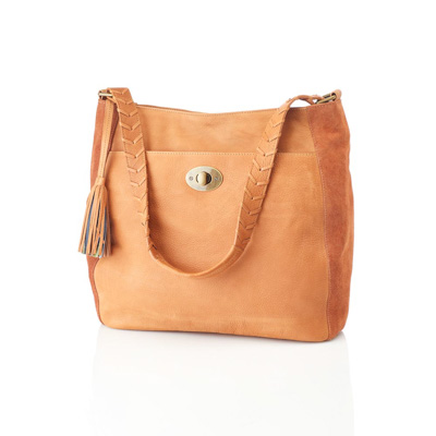 Camel Classic Leather Shoulder Bag