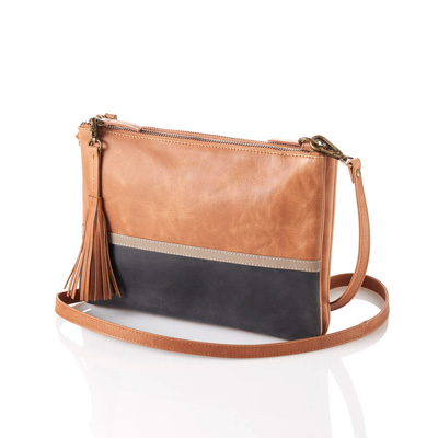 Tan Colorblock Crossbody Bag