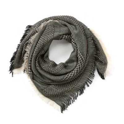 Black & White Square Wool Scarf