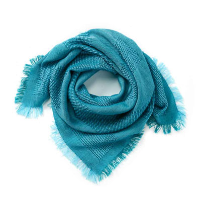 Turquoise Square Wool Scarf
