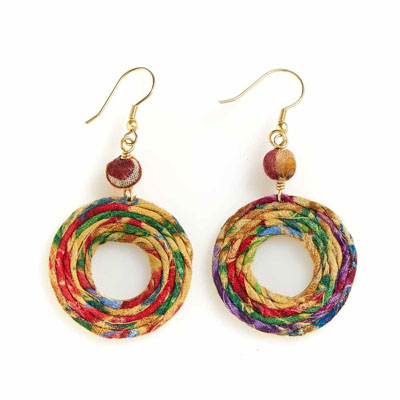 Spiral Sari Earrings
