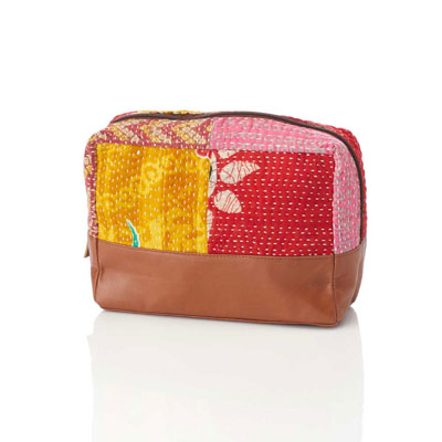 Large Zip Kantha Pouch with FREE Essential Oil