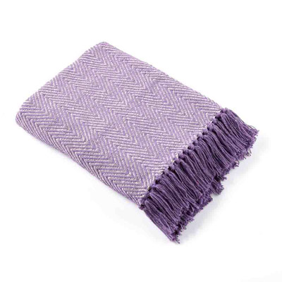 Rethread Throw - Lavender Herringbone