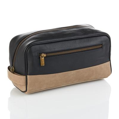Black & Taupe Leather Dopp Bag
