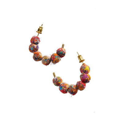 Mosaic Brushed Sari Earrings