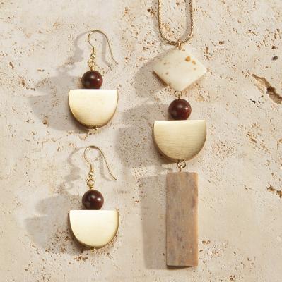 Half Moon Necklace & Earrings Set