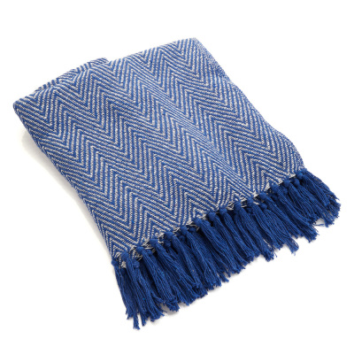 Rethread Throw - Blue Herringbone