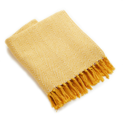 Rethread Throw - Yellow Herringbone