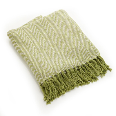 Rethread Throw - Green Herringbone
