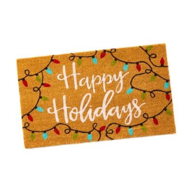 Happy Holidays Coconut Fiber Mat