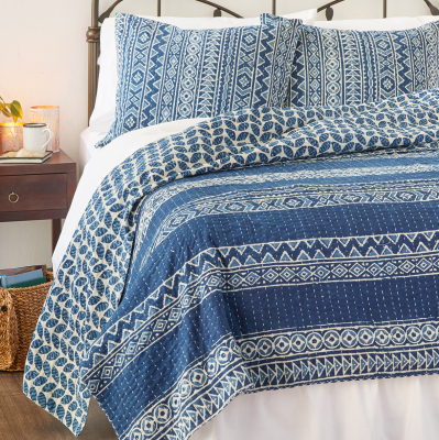 Geo Stripe Dabu Cotton Bedding