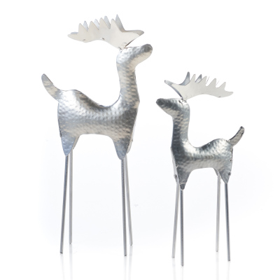 Hammered Silver Reindeer - Set of 2