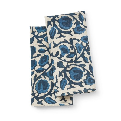 Indigo Floral Dabu Napkins - Set of 2