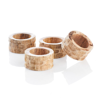 Mango Wood Napkin Rings - Set of 4