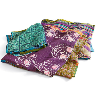 Cool Kantha Patchwork Square Throw