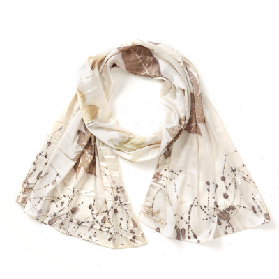 Parchment Pressed Leaf Silk Scarf